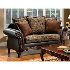 furniture of america rotherham vintage brown dark brown faux leather loveseat