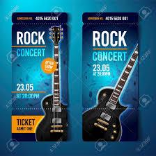 Vector Illustration Blue Rock Concert Ticket Template Design