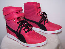 puma wedge sneakers. new puma red womens sky high top contact wedge shoes sneakers us sz 9 / eur