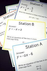 slope intercept form of a line scavenger hunt math algebra and 5e8ee8cc41dd6381b4358a9418a slope intercept form form