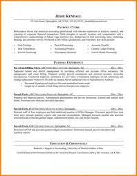 Accounts Payable Resume Sample Template Payroll Hr Clerk Officer