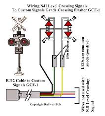 railway bob s module building tips grade crossing signals for ho black wire is positive anode and the two white wires are negative cathode here s a schematic of the wiring for the nji grade crossing signal mast