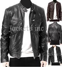 mens black brown real leather jacket vintage slim fit retro genuine new xs 3xl