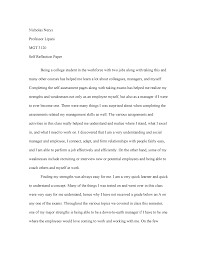 College Essay About Myself Mgt 3120 Self Reflection Paper Mgt 3120 Baruch College