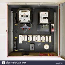old fuses fuse box stock photos & old fuses fuse box stock images Blown Fuse Circuit Breaker Box electricity meter in box with old style fuses, circa 1962, in new zealand home