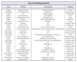 Wedding Day Timeline Excel Wedding Ceremony Timeline Template Luxury Day Schedule
