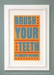 kids bathroom wall decor. Bathroom Art - Kids Wall Decor- Brush Your Teeth By Order Of Management Print- Decor