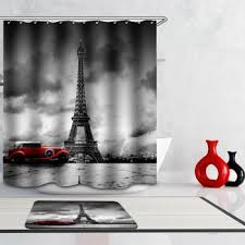 eiffel tower bathroom decor  waterproof eiffel tower floral polyester shower curtain colormix