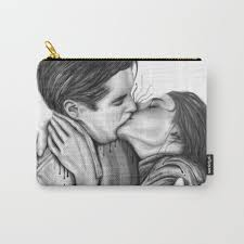 Cinema Kiss Blackwhite Love Art Illustration Romance Lovers Relationship Couple Drawing Kiss Carry All Pouch By Nymphainna