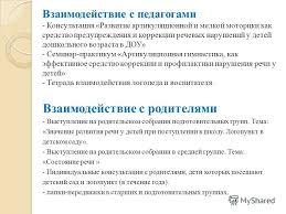 Презентация на тему Отчет учителя логопеда Кусакиной Ольги  6 Взаимодействие