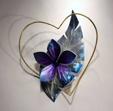 metal wall sculpture metal wall art heart with flower love art design by alex kovacs ak475