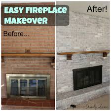 whitewashed fireplace makeover easy diy