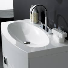 Resin Bathroom Accessories Milano Stone Gloss White Wall Mounted Vanity Unit Curved Front