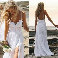 Spaghetti Strap White Chiffon Beach Wedding Dresses Simple Bridal Simple Wedding Dresses