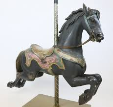 carved and polychrome wood carousel horse