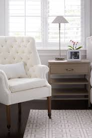 white tufted chair. White Linen Tufted Chair By Restoration Hardware. Geometric Stark Carpet In Master Bedroom With Natural Stanley Bedside Tables. Serena And Lily Alta Bed, D