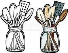 kitchen utensil clipart black and white. Contemporary Black Retro Kitchen Utensils  Patterns Pinterest Utensils  And Happy Planner Inside Utensil Clipart Black And White R