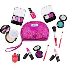 amazon pixiecrush pretend play makeup kit designer s purple sparkle bag deluxe makeup set toys games