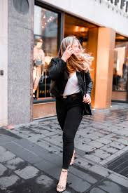 daily look black faux leather jacket