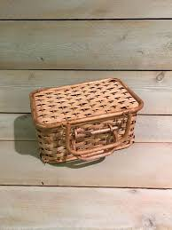 woven wood basket. Plain Wood Sewing Basket Woven Wood With Lid And Handles Storage Vintage  Carry All  Pinterest Wood Basket Baskets On Woven Basket O