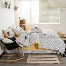 black and white striped bedding set duvet cover yellow laice bed sheet linen pillow cover pillowcases home textile unique duvet covers boy bedding from