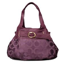 Coach Buckle In Signature Large Purple Hobo ENF