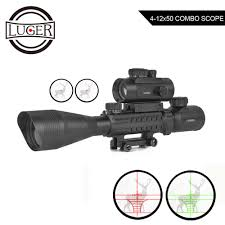 Bsa Red Dot Laser Light Combo Luger 4 12x50 Illuminated Rangefinder Reticle Rifle Scope