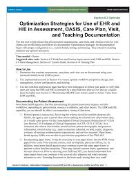 Oasis Charting For Home Health 6 Optimization Strategies For Use Of Ehr And Hie In