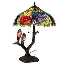 fl birds multicolored brown table lamp