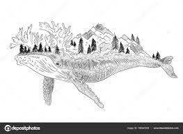 Velryba Dvojitá Expozice Surrealistické Tetování Volant Maják Bouře
