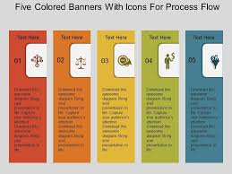 Powerpoint Bg Bg Five Colored Banners With Icons For Process Flow Flat