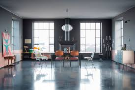 polished concrete floor loft. Industrial Dining Area With Polished Concrete Floors Features Large, Metal-framed Windows In This Former Weapons Factory Budapest, Hungary. Floor Loft