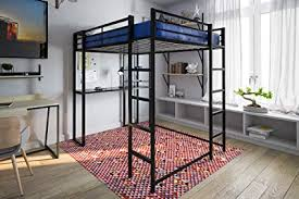 Amazon.com: DHP Abode Full-Size Loft Bed Metal Frame with Desk and ...