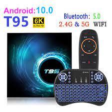 Android 10 T95 Smart Tv Box Youtube HD 6K 2.4G & 5G Wifi 4GB 32GB 64GB  Google Asisten Suara Bluetooth TV Receiver Media Player Set-top Box