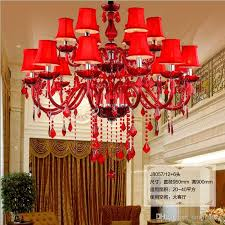 high ceiling red living room crystal chandelier large led vintage chandelier crystal lamp entance hotel hall candle holder shades lighting red living room