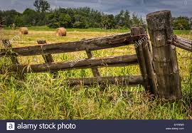 wood farm fence. An Old Wood Farm Gate With Hay Bales In The Field Behind. Fence