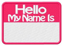 Name Tag Embroidery Design
