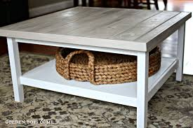 ikea hemnes coffee table with gray weathered wood plank top and pottery barn beachcomber round