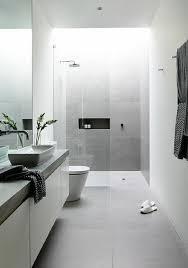 modern bathroom white. Interesting Bathroom Modern Bathroom White Light Grey Tiles Plant Shower Intended Bathroom White