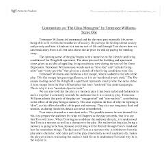 commentary on the glass menagerie by tennessee williams scene document image preview