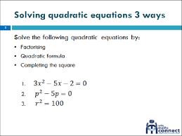 solving quadratic equations with