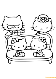 The hello kitty alphabet coloring pages are designed to print in portrait. Hello Kitty With Her Family Coloring Pages Cartoons Coloring Pages Free Printable Coloring Pages Online