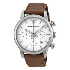 emporio armani chronograph white dial brown leather mens watch ar1846 zoom emporio armani emporio armani chronograph white dial brown leather mens watch ar1846