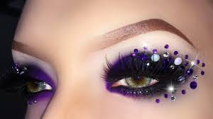 y black purple witch evil queen makeup tutorial with rhinestones using make up for ever you