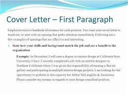 First Paragraph Of Cover Letter Cover Letter 1st Paragraph Williamson Ga Us