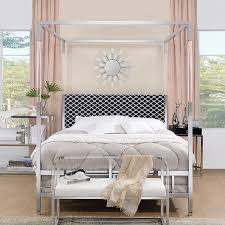 Raegan Queen Canopy Bed (Chrome)