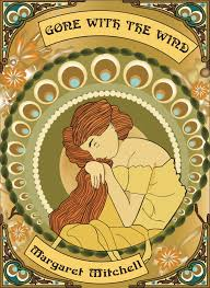 a book cover that i created for my ignment we were to design this cover base on the art movement called art nouveau gone with the wind by