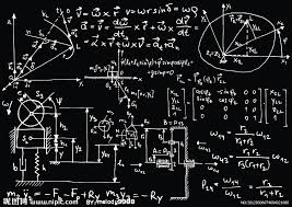complicated physics stuff on a blackboard actually there are matrices and vectors and energy level diagrams and an angle diagram so i am not completely