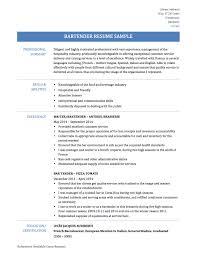 Sample Resume Bartender How To Make A Bar Examples Resumes Job