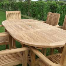 oval teak outdoor dining table